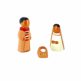 CRECHE - Coffret Sainte Famille 3 pièces - Santons en terre cuite (6cm) N°53