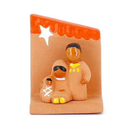 CRECHE - Mini Sainte Famille avec socle étoile - Santons en terre cuite (6cm) N° de Crèches