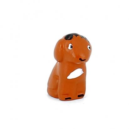 CRECHE - Le chien brun - Santons en terre cuite (3,5cm) N°1 de Crèches de Noël