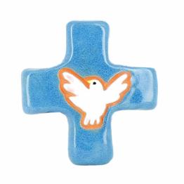 Croix colombe bleu (10x10 cm)