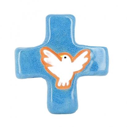 Croix colombe bleu (10x10 cm) de Crèches de Noël