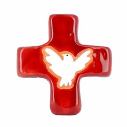 Croix colombe rouge (10x10 cm)