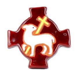 Croix agneau marron (10x10 cm)