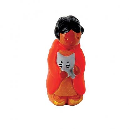 CRECHE - La petite fille au chat - Santons en terre cuite (6cm) N°6 de Crèches de Noël