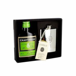 Coffret Chartreuse Verte + flasque en étain