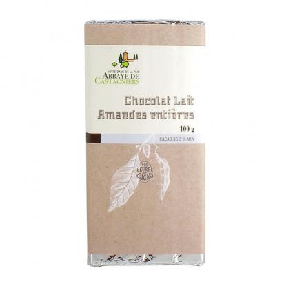 Tablette de chocolat au lait et amandes entières de Confiseries