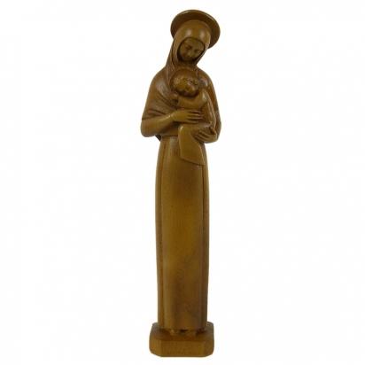 Statue religieuse de la Vierge Mère auréolée ton bois de Statues & Statuettes