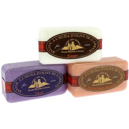 Lot de 3 savons : Lilas - Olive-Pamplemousse - Jasmin de Douche