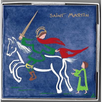 Céramique Saint Martin de Tours, Apôtre de la Gaule, peinte à la main de Saints Patrons