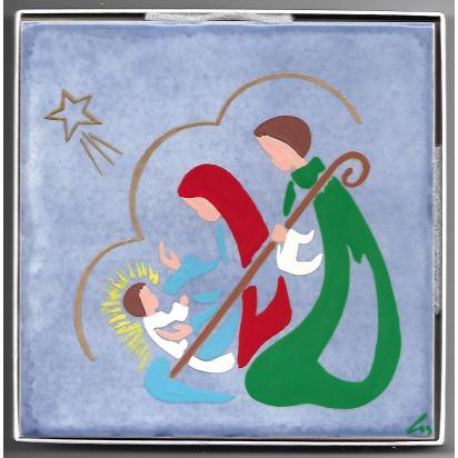 Céramique La Nativité de Jésus à la Crèche, peinte à la main de La Sainte Famille