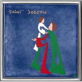 Céramique de Saint Joseph avec l'Enfant Jésus dans ses bras de Les Saints-Patrons