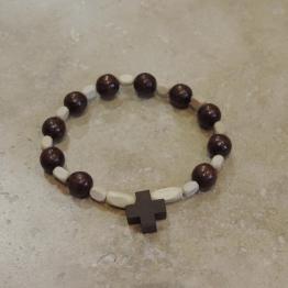 Dizainier en bois marron de Croix & Chapelets