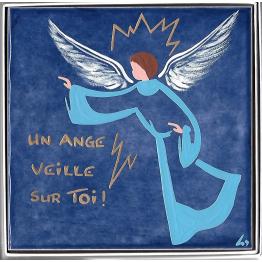 """""""Céramique de l'Ange Gardien avec l'inscription """"""""Un ange veille sur toi"""""""", peinte à la main"""""""