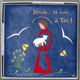 Céramique du Bon Pasteur avec l'inscription Jésus je suis à toi