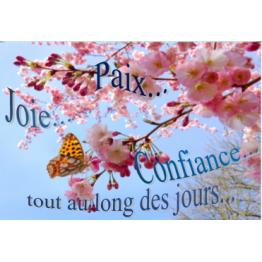 Carte de vœux paix joie et confiance pour tous les jours artistique florale créative Artisanat monastique