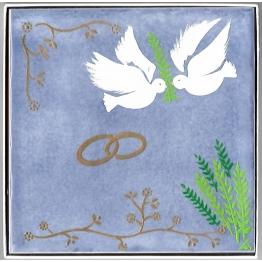 Céramique Mariage avec anneaux et colombes - date et noms personnalisables