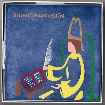 Céramique de Saint Augustin peinte à la main de Les Saints-Patrons