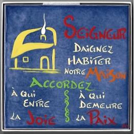 """""""Céramique avec l'inscription """"""""SEIGNEUR DAIGNEZ HABITER NOTRE MAISON…3"""""""