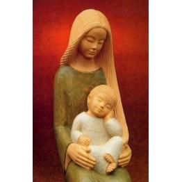 REPRODUCTION VIERGE ET ENFANT - LE PAPE - XX° - 13*20.5cm