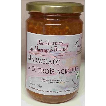 MARMELADE AUX TROIS AGRUMES, 370 gr de Confitures & Miels