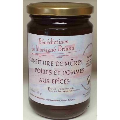 CONFITURE DE MURES POIRES POMMES AUX EPICES, 370 gr de Confitures & Miels
