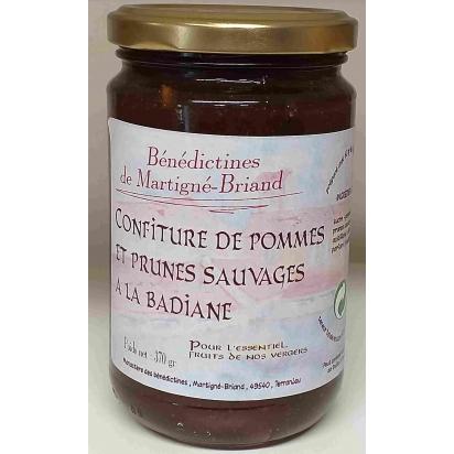 CONFITURE DE POMMES, PRUNES SAUVAGES A LA BADIANE, 370 gr de Confitures & Miels