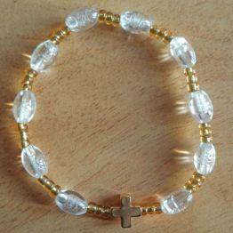 Bracelet dizainier croix dorée