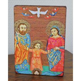 Image collée sur bois - Sainte Famille