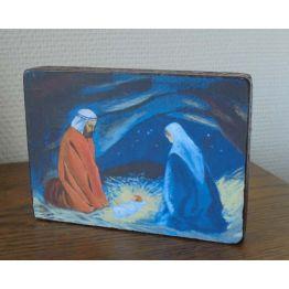 Image collée sur bois - Nativité