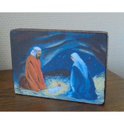 Image collée sur bois - Nativité de Pour ma prière