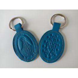 Porte-clés en cuir bleu avec motif médaille miraculeuse