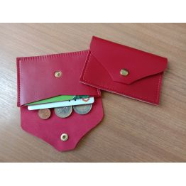 Porte-monnaie et porte-cartes en cuir d'agneau rouge