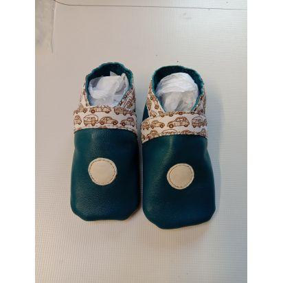 Chaussons bébé en cuir d'agneau bleu canard, 0-5 mois de Petite maroquinerie