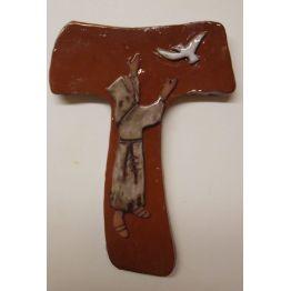 croix laudato si, avec saint François, en terrre cuite émaillée