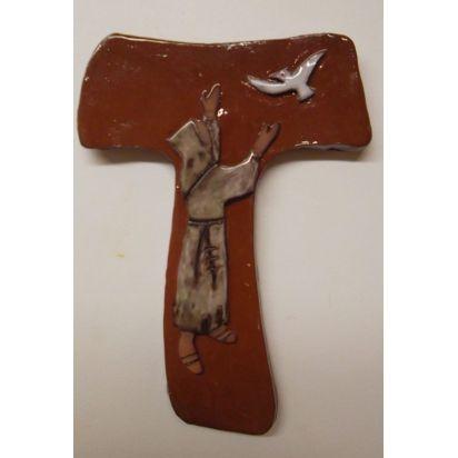 croix laudato si, avec saint François, en terrre cuite émaillée de Croix & Chapelets