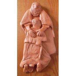 """bas-relief """"fils prodigue"""" en terre cuite"""