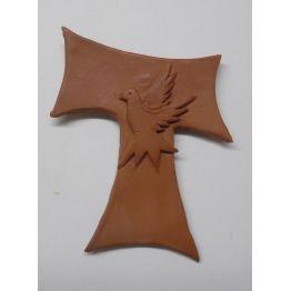 """croix franciscaine """"Pace e Bene"""" en terre cuite"""