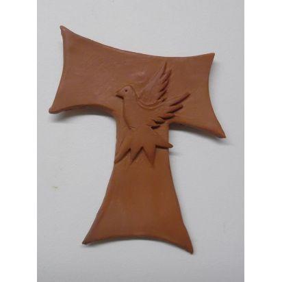 """croix franciscaine \\""""Pace e Bene\\"""" en terre cuite de Croix & Chapelets"""