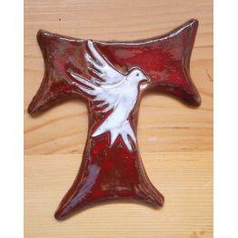 """croix franciscaine """"Pace e Bene"""" en terre cuite émaillée"""