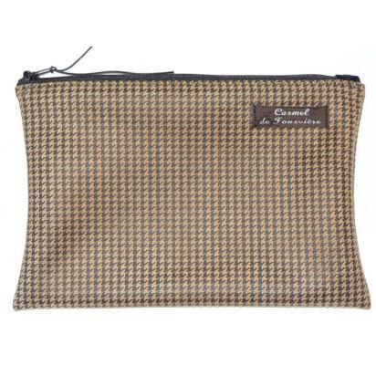 Pochette pied de poule caramel zip noir de Trousses & Accessoires
