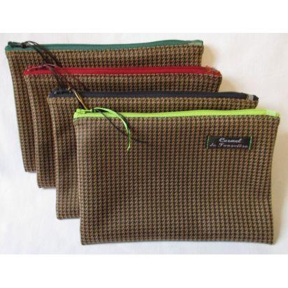 Pochette Pied de Poule zip couleur de Trousses & Accessoires