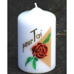 m) Bougie portant une rose du Carmel de Bougies