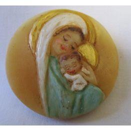 Médaillon rond visages de face de La Vierge Marie