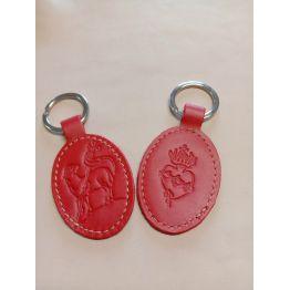 Porte-clés en cuir rouge avec motif agneau et Sacré coeur