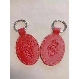 Porte-clés en cuir rouge avec motif Croix Esprit St et Sacré coeur