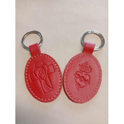 Porte-clés en cuir rouge avec motif Croix Esprit St et Sacré coeur de Petite maroquinerie