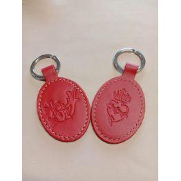 Porte-clés en cuir avec motif poisson et Sacré coeur