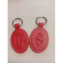 Porte-clés en cuir avec motif Jésus Marie Jean et Sacré coeur