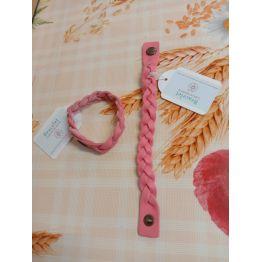 Bracelet tressé en cuir vachette rose corail