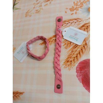 Bracelet tressé en cuir vachette rose corail de Petite maroquinerie